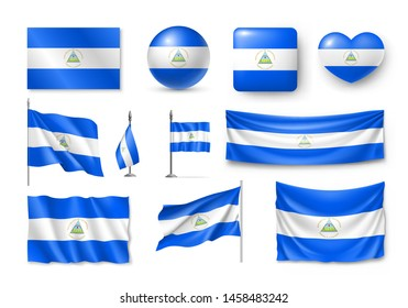 Various flags of Nicaragua independent country set. Realistic waving national flag on pole, table flag and different shapes badges. Patriotic symbolics for design isolated vector illustration