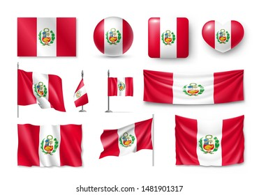 Various flags of Peru independent country set. Realistic waving national flag on pole, table flag and different shapes badges. Patriotic peruvian official symbols isolated vector illustration.