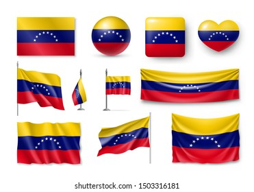 Various flags of Venezuela independent country set. Realistic waving national flag on pole, table flag and different shapes badges. Patriotic venezuelan rendering symbols isolated vector illustration.