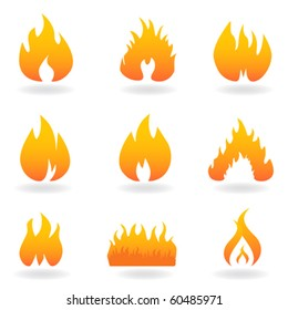 Various flame and fire symbols icon set