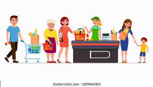 Various flat people at the supermarket buying products at the cashbox with cute cashier. Men and women at mall. Family in shop with baskets and cartoon bags vector flat illustration.