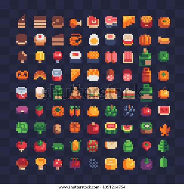 Image Vectorielle De Stock De Diverses Icônes De Pixel Art