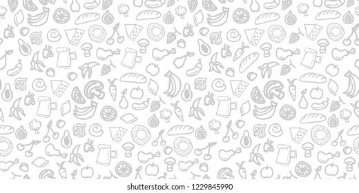 Various food seamless pattern Hand drawn background texture