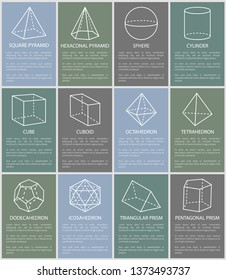 Various form geometric figures vector illustration, sphere and cylinder, cube and cuboid, tetrahedron and octahedron, square and hexagonal pyramids