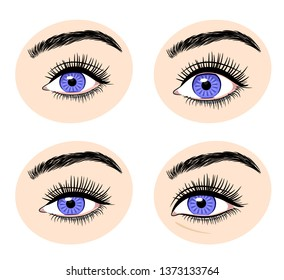 Various forms of human eyes