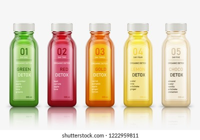 Various fresh vegetable detox juices, colourful smoothies in the bottle on a white background. Vector illustration