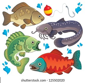 Various freshwater fishes 2 - vector illustration.