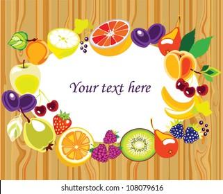 Various Fruits border - vector illustration on wood background
