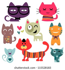 Various funny cats set