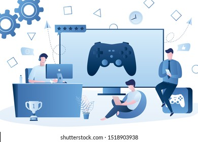 Various gamers,big game controller on screen. People with different smart gadgets playing video games. Cross Platform Multiplayer concept. Players male characters. E-sports team,group of gamers.Vector