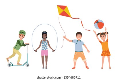 Various games and toys for preschool kids. Game preschool, childhood girl and boy leisure, vector illustration