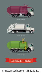 Various garbage trucks in trendy modern flat design, vector. Cool set of sanitary city service transport icons