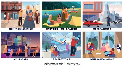 Various generations representation set. Social groups concept, generation type. Silent, boomer, x, millenial, z and alpha. Set of vector illustration