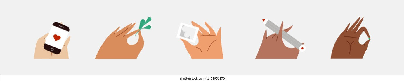 Various gestures of hands isolated on a white background. Vector flat illustration in different situations. Use in Web Project and Applications.