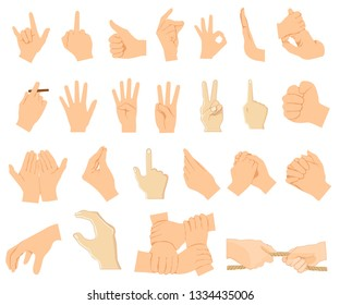 Various gestures of human hands isolated on a white background. Vector flat illustration of male hands in different situations. Vector design elements for infographic, web, internet, presentation.
