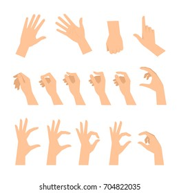 Various gestures of human hands isolated  on a white background. Vector flat illustration of female hands in different situations. Vector design elements for infographic, web, internet, presentation.
