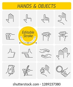 The various gestures of human hands outline icon set. The different hand positions holding objects. The clenching a fist, claping one's hands line symbols. Linear vector icons with editable strokes.