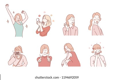 various girl's poses set. hand drawn style vector design illustrations.