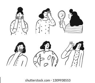 various girl's poses set. hand drawn balck-white vector design illustration