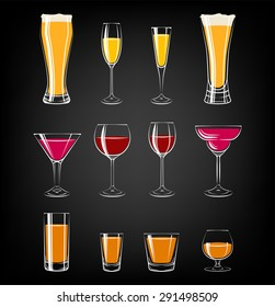 various glassesd on black background. glasses for cocktails, wine, vodka, beer and water. everything for the bar and pub.
