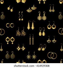 various gold ladies earrings types seamless pattern eps10