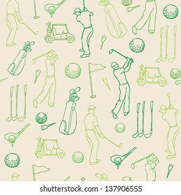 Various golf images & player seamless pattern