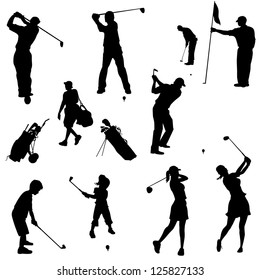 Various golfers in silhouettes. Adults and children in this set.