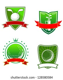 Various golfing heraldic sports icons with blank banners for your text or team, vector illustration isolated on white. Jpeg version also available in gallery