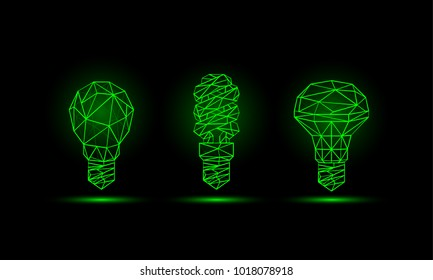 Various green neon low poly light bulbs models. Glowing polygonal bulbs set on a black background