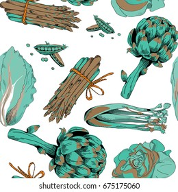 Various green vegetables with blue and brown shadows seamless pattern. Vector illustration on white background