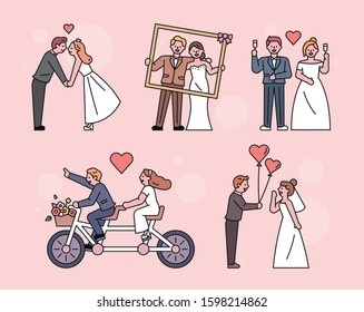 Various groom and bride characters taking wedding photos. flat design style minimal vector illustration.