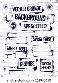 Various of grunge spray graffiti on brick wall.