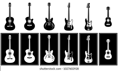 various guitars set vector illustration
