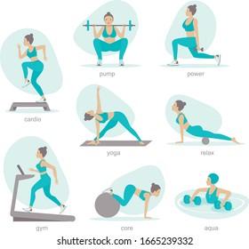 Various gym activities set. Exercises in gym, cardio, treadmill, body lifting, aqua aerobics. Healthy lifestyle flat vector illustration
