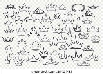 Various hand drawn crowns set. Collection of doodle crowns. King crown sketches, tiaras, king queen royal diadems. Prince, princess luxurious head accessories on checkered background. Vector