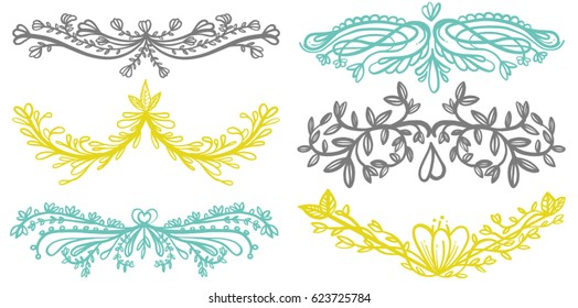 Various Hand Drawn Ornate Floral Boarders