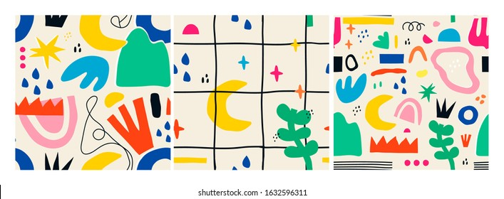 Various Hand drawn Shapes and Doodle objects. Set of three Colorful Abstract contemporary modern trendy Vector Seamless patterns. Wallpapers. Perfect for textile prints