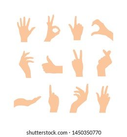 Various hands gestures of human. Vector flat illustration of hands in different situations. Vector design elements for web, infographic, presentation, communication, emoticons.