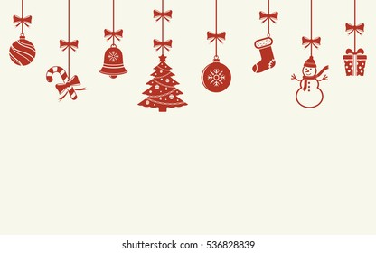 Various hanging Christmas ornaments