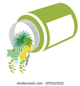 various herbs spilling from the overturned bottle instead of synthetic medicines. concept vector format illustration.