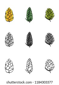 Various Hops in Color and Line
