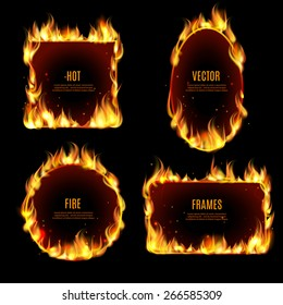 Various hot fire flame frame set on the black background with center text isolated vector illustration.