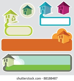Various house/home theme banners and stickers, with space for text.