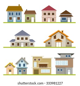 Various Houses Style Set, One and Two Story, Homes, Building