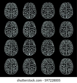 Various human brains are drawn by lines manually. Lines of light color on a black background. Hand drawing