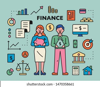 Various icons and characters for finance. flat design style minimal vector illustration.