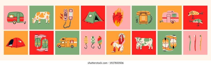 Various Icons. Logo templates. Tourism, journey, adventure, Recreation, rural life, Vacation concept. Colorful Vector set. Hand drawn illustrations. All elements are isolated - Shutterstock ID 1927833506