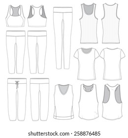Various illustrations of Women's athletic wear.