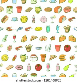 Various images set. Background for printing, design, web. Usable as icons. Seamless. Colored.