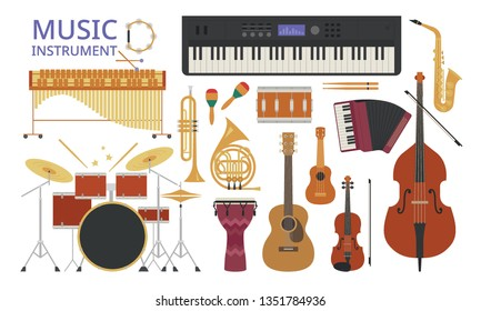 Various instrument configuration sets. flat design style minimal vector illustration